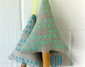 Set of 3 Neon Linen Christmas Ornament, Decoration, handprint, holidays, stocking stuffer