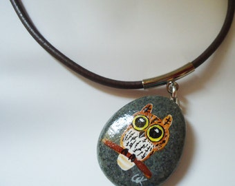 Stone Owl Necklace . Animals Lovers