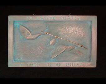 Talkative Turtle copper Limited Edition garden plaque