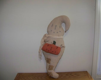 Large Primitive Ghost Hanger/Greeter With Pumpkin and Rusty Wire