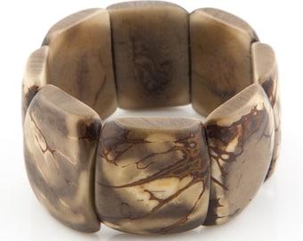 Patterned Tagua Nut Bracelet / Tagua Jewelry / Tagua Bracelet / Statement Bracelet / Grey Bracelet / Seed Jewelry / Fair Trade Jewelry