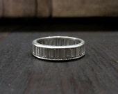 Vintage Ring, Art Deco Baguette Diamond Eternity Band Platinum sz 6 c. 1930