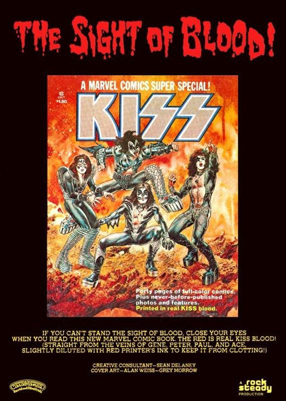 """KISS """"The Sight Of Blood"""" Comic Book Ad Stand-Up Display - Gift Kiss Band Collectibles Collectors Collection Retro Vintage Kiss Army Poster"""