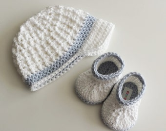 Baptism Christening Boy Hat and Booties, White Crochet Newsboy Hat, White and Baby Blue