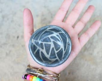 Small Dish - Ring Holder - Tiny Pottery - Black Geometric Design