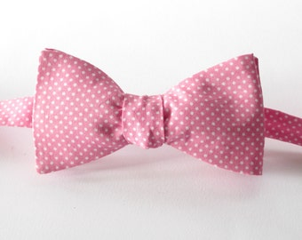 Candy pink polka dot  - mens bowtie   - self tie / freestyle