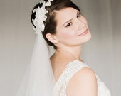 Fingertip Wedding Veil with Lace Headpiece, Detachable Veil with Lace Headband, Custom Length Veil in White or Ivory