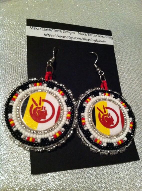 American Indian Movement beaded earrings