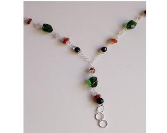 Green and Orange Lanyard Necklace