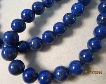 8mm, Natural Lapis Lazuli Beads, Grade B, Round - 2 Loose Beads or, choose a Larger Pkg or Strand Length from the 'Select an Option' menu