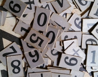 2 Dozen Antique Elementary Number Anagram Card Tiles | Math, Arithmetic | Price Tags