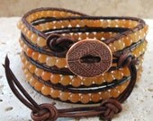 Peach Aventurine Gemstone Beaded Leather 4-Wrap Bracelet