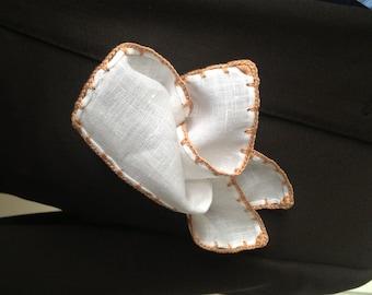 Handmade Linen Pocket Square Copper