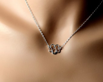 Sterling Silver Serpent Necklace , Dainty Infinity Sterling Jewelry