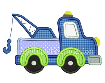 Tow Truck Applique Machine Embroidery Design blue green boy construction vehicle INSTANT DOWNLOAD