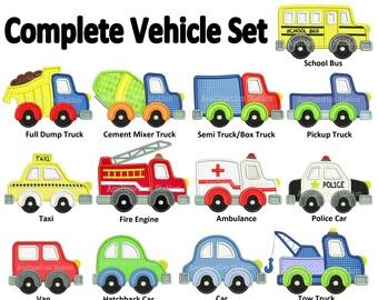 Complete Vehicle Set Applique Machine Embroidery Design boy dump, tow, fire truck, police car construction INSTANT DOWNLOAD