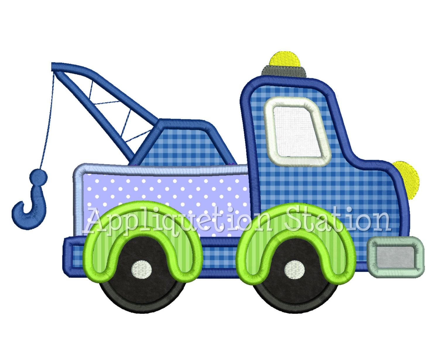 Tow truck applique machine embroidery design blue green