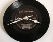 "QUEEN & DAVID BOWIE Vinyl Record Clock ""Under Pressure"" 7"" single. Great fun gift fans dad mum brother sister best mate man stag engagement"
