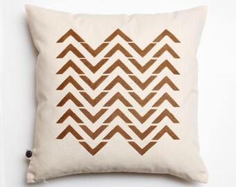 Chevron print decorative cushion cover golden zigzag pattern hand printed on cotton canvas sofa pillow size 16x16   0149
