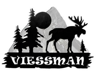 Personalized Moose and Mountain Sign