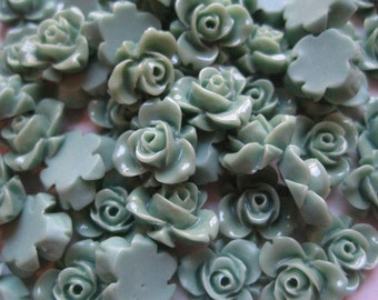 Tiny Green Roses, 12mm Resin Flower Cabochon, 10 pc, Perfect for Rings, Bobby Pins and more