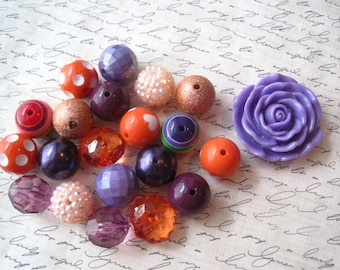 Purple and Orange Necklace Kit, Chunky Gumball Bead Kit, Bubblegum Necklace Kit, Hardware Included, Necklaces, Fun Kids Project