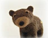 Mr. Truffles Needle Felted Brown Bear Felt Animal Grizzly Bear Ornaments