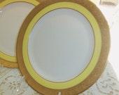 Reserved for Julianne/4 Belleek Luncheon Plates / 24 Karat Gold Trim/Yellow Border/ Ovington /  Dinner Party / Wedding Gift/