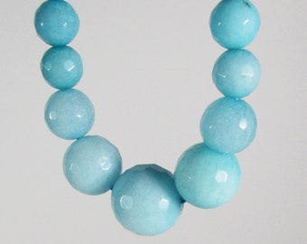Light Blue  Candy Jade Faceted Ball Graduating Beads 6mm - 14mm Strand