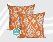 Apache Orange Raji Ikat  Pillow Covers - 20 x 20 and More Sizes - Zipper Closure
