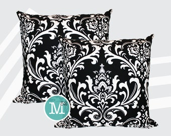 Black & White Damask Pillow Covers - 18 x 18, 20 x 20 and More Sizes - Zipper Closure- dc1820