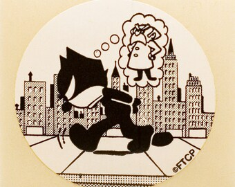 Vintage Felix The Cat and the Professor sticker, 1980's