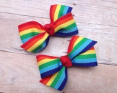 Adorable rainbow pigtail bows, rainbow bows, toddler bows, pigtail bows