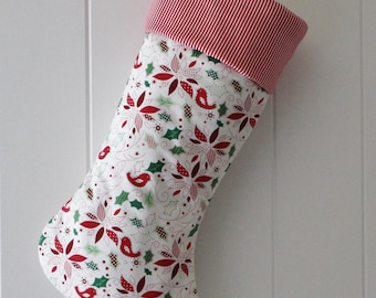 Christmas Stocking / Holly & Poinsettia / Item 120