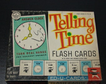 Telling Time Flash Cards Lovely Vintage Illustrations Educational Children's Toy