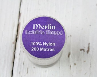 Merlin Invisible Thread, Sewing, Mending, 200m Clear