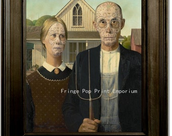 Sugar Skull American Gothic Print 8 x 10 - Figures from Famous Painting in Mexican Day of Dead Makeup - Pop Surrealism - Pop Art