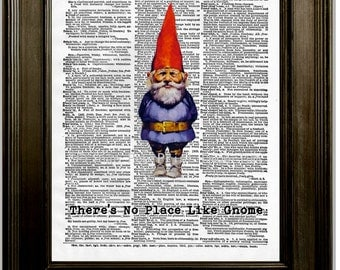 No Place Like Gnome Art Print 8 x 10 Dictionary Page - Garden Gnome - Funny Humor - Pun