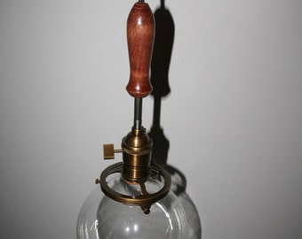 """6"""" Clear Glass Globe Pendant Light with Wood Handle"""