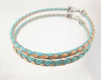 Bolo Braided Leather Bracelet Two Tone Tuquoise Blue and Natural #177