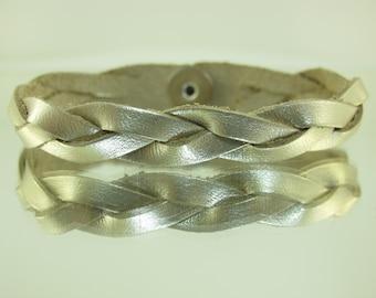 Mystery Braided Leather Bracelet Metallic Silver