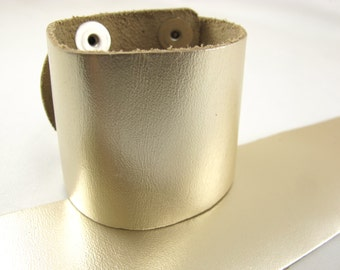 "Metallic Platinum Leather Cuff Bracelet 2"" Wide, #50-85231002"