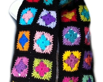 Crochet scarf granny square scarf crochet wrap granny square wrap kaleidoscope scarf black scarf, MADE TO ORDER