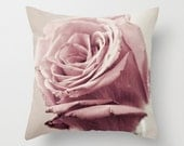 Dusky Rose pillow home decor cushion fine art photography botanical floral pink flower living room bedroom furnishing shabby chic