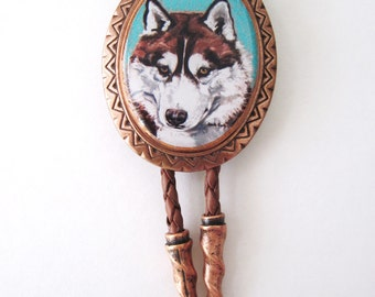 Red Siberian Husky Classic Bolo Tie