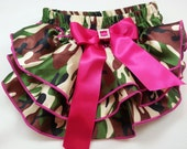 Camouflage Diaper Cover, Camo Satin Ruffled Diaper Cover with Hot Pink Bow and Rhinestone Embellishment, Ruffled Baby Bloomers