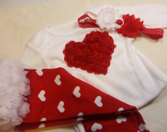 Girls VALENTINES DAY OUTFIT, Red Heart Bodysuit, Girls Flower Headband, Red Heart Leg Warmers, Infant Valentines Outfit, Toddler Heart Shirt