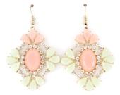 Beautiful Gold-tone  White Crystal Light Pink and Mint Green Dangle Drop Earrings,E3