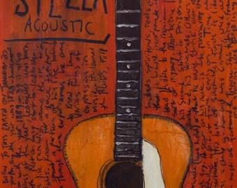 Blues Art. Guitar Art. Lead Belly Stella Acoustic Vintage 12 string Guitar 11x17 Print. Blues Music