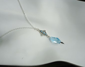Blue necklace, silver necklace, aquamarine, gift for her, March birthstone necklace, gift ideas for woman, March birthstone, birthday gift